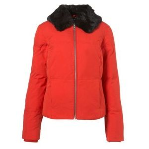 Topshop Faux Fur Collar Padded Jacket in red sz 2